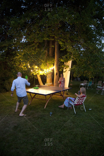 Montauk, New York - July 23, 2011: Ping pong game at Surf Shack which Chandelier Creative founder Richard Christiansen created for employees