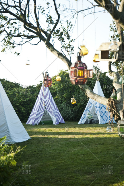 Tipis and hanging lamps
