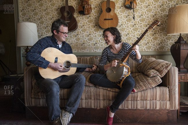 Shelter Island, New York - April 6, 2013: Bennett Konesni and his wife Edith Gawler practicing songs at Sylvester Manor for the evening's performance