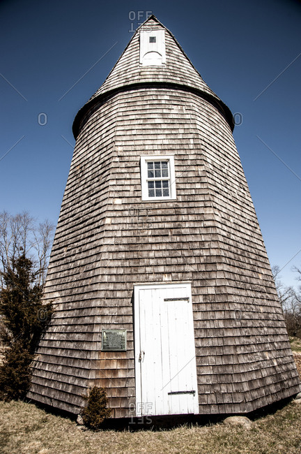 Shelter Island, New York - April 6, 2013: Old windmill at Sylvester Manor