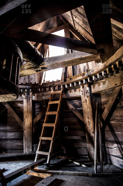 Shelter Island, New York - April 6, 2013: Interior of the old windmill at Sylvester Manor