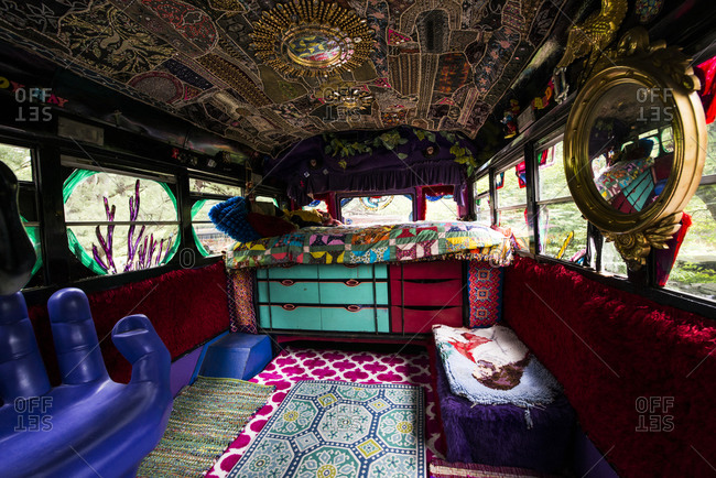 Cottekill, New York - July 24, 2014: School bus interior at Kat O'Sullivan's technicolor home