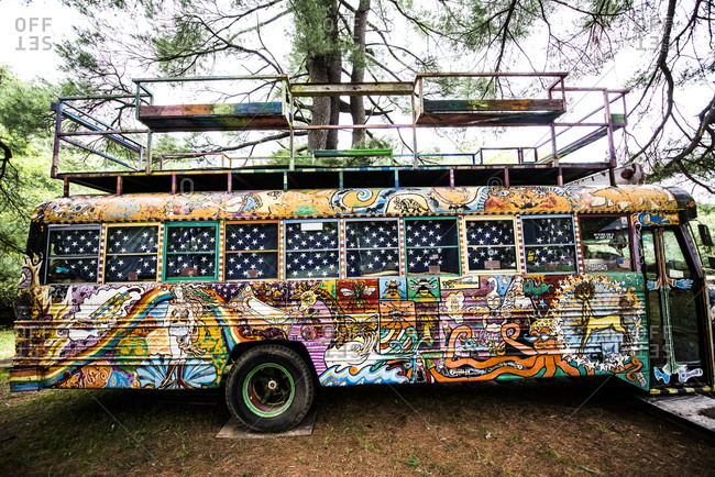 Cottekill, New York - July 24, 2014: Exterior of a decorated school bus at Kat O'Sullivan's technicolor home