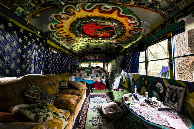 Cottekill, New York - July 24, 2014: Inside of a school bus at Kat O'Sullivan's technicolor home
