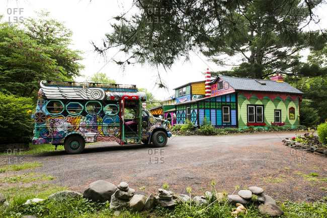 Cottekill, New York - July 24, 2014: Decorated school bus at Kat O'Sullivan's technicolor home