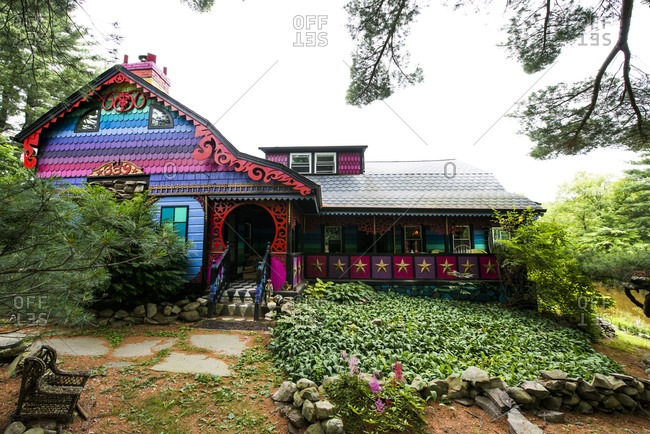 Cottekill, New York - July 24, 2014: Exterior of Kat O'Sullivan's technicolor home