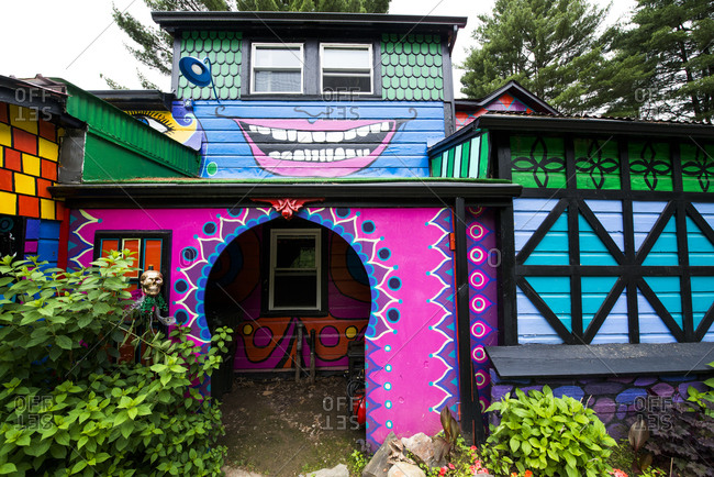 Cottekill, New York - July 24, 2014: Designs and pictures on Kat O'Sullivan's technicolor home