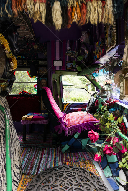 Cottekill, New York - July 24, 2014: Interior of a school bus at Kat O'Sullivan's technicolor home