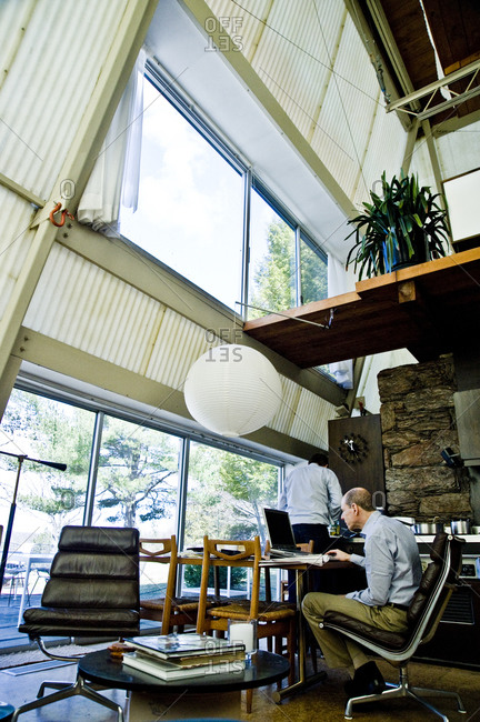 Stanfordville, New York -  April 3, 2011: Owners inside Plastic Tent House designed by John M. Johansen