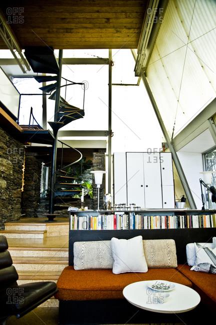 Stanfordville, New York -  April 3, 2011: Living room of Plastic Tent House designed by John M. Johansen
