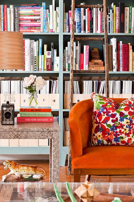 Interior of a living room with a bookshelf