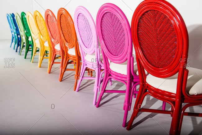 Colorful chairs side by side