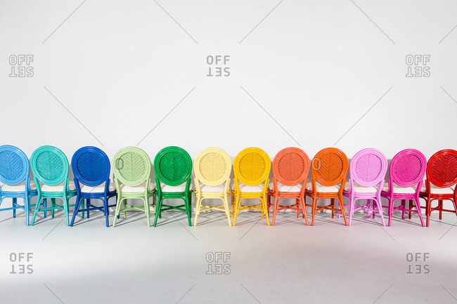 Colorful chairs in a row