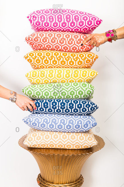 Colorful stacked pillows