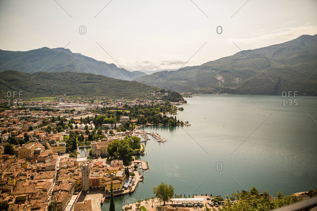 Overlooking a city on Lake Garda in italy