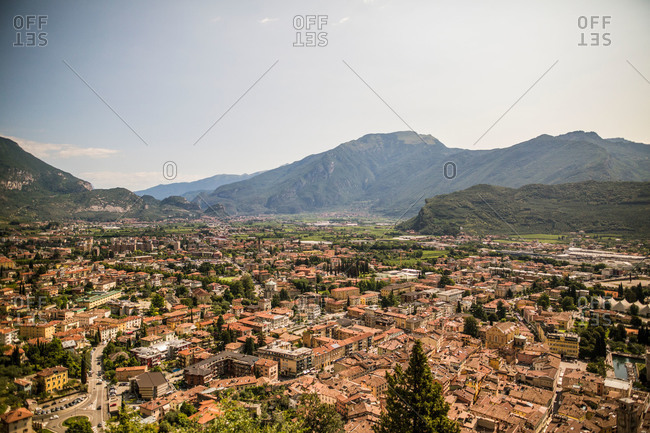Overlooking a city in a valley in Northern Italy