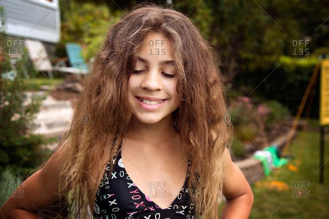 Portrait of little girl in her swim suit