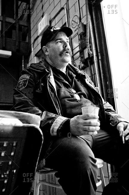 Eastpointe, MI, USA - March 25, 2009: Paramedic taking a break in Michigan
