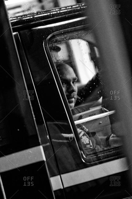 Eastpointe, MI, USA - March 25, 2009: Paramedic in an ambulance in Michigan