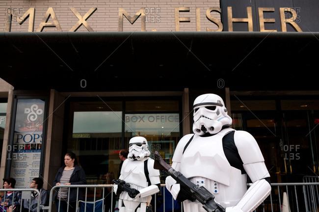 Detroit, MI, USA - April 14, 2014: People in sci-fi costume in Detroit