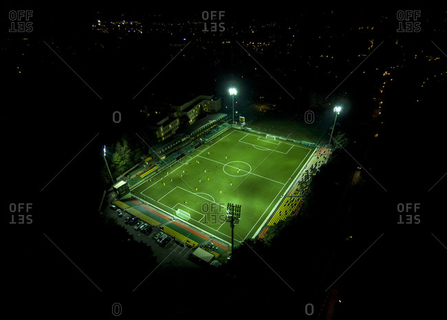 Aerial view of Lithuania National Stadium at night