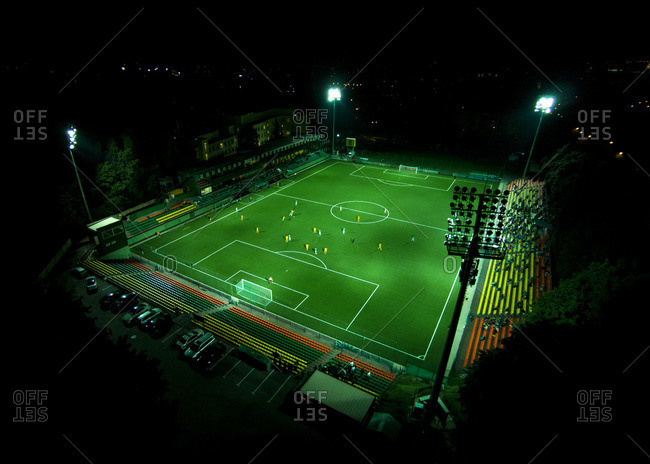 Aerial view of a football game at Lithuania National Stadium at night