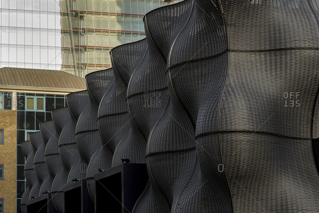 London - December 16, 2014: Panels of undulating sculptures at Guy's Hospital