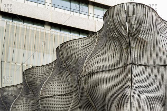 London - December 16, 2014: Wavy modern steel sculptures at Guy's Hospital