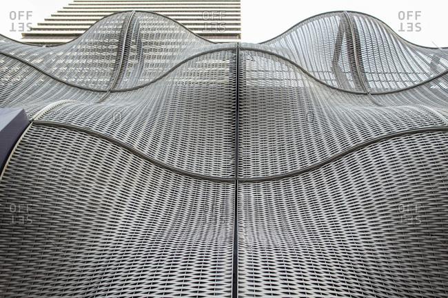 London - December 16, 2014: Undulating modern sculpture at Guy's Hospital
