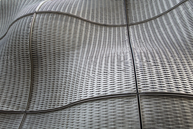 London - December 16, 2014: Undulating steel and mesh sculpture at Guy's Hospital