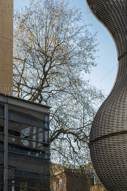 London - December 16, 2014: Steel sculpture and trees at Guy's Hospital