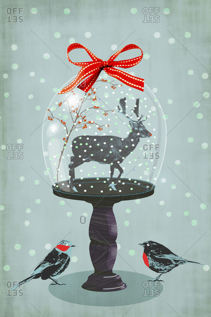 Domed reindeer Christmas decoration with two birds