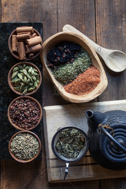 Variety of spices in wooden bowls