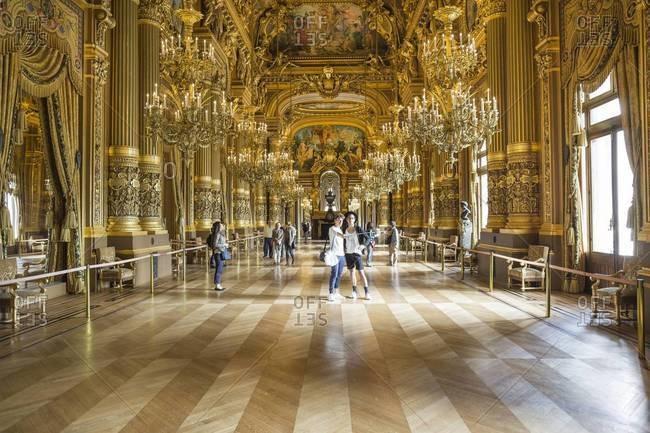 Paris, France - September 21, 2015: Palais Garnier opera house interior, Paris