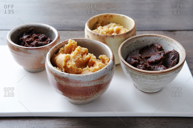 Ramekins filled with different miso pastes