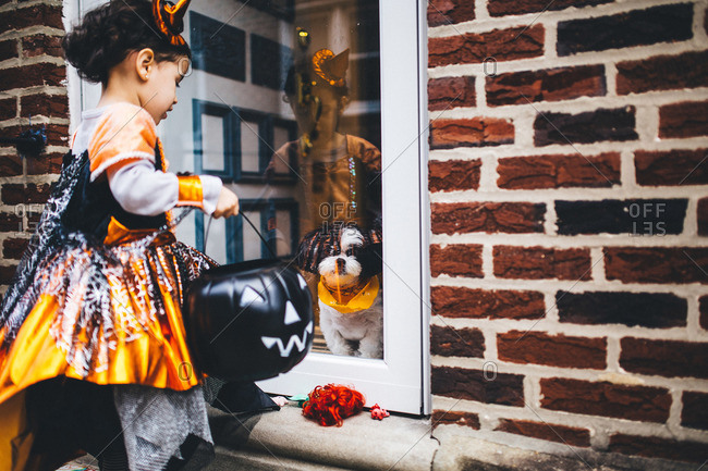 Girl and dog at front door on Halloween