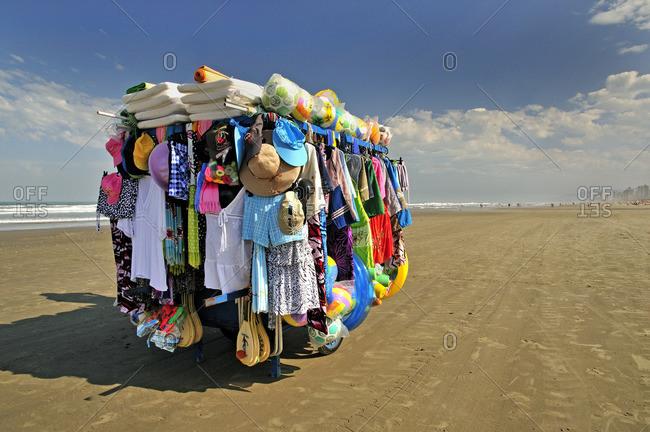 Sao Paulo, Brazil - November 10, 2015: Beach clothes and souvenir stand
