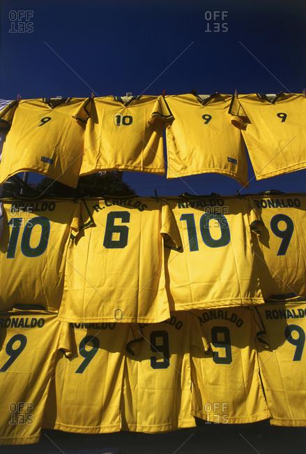 Rio de Janeiro, Brazil - November 3, 2015: Soccer jerseys blowing in wind