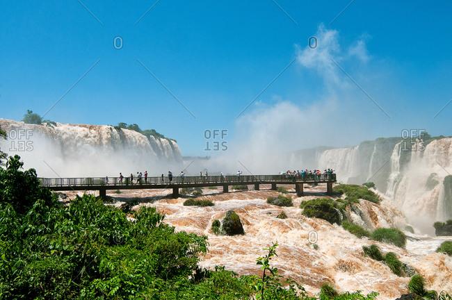 Tourists by Iguazu Falls, Brazil