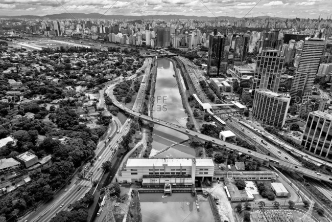 Cityscape and river in Sao Paulo, Brazil