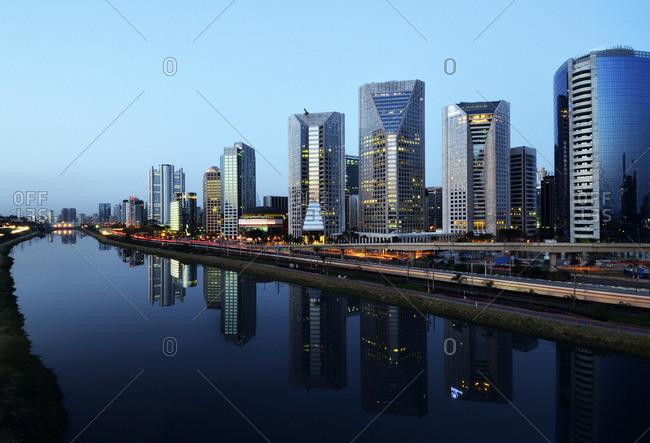 Sao Paulo, Brazil - November 10, 2015: Modern buildings on river, Sao Paulo, Brazil