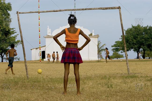 Kids playing soccer in Bahia, Brazil