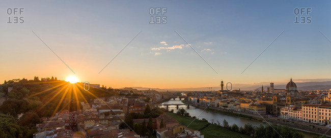 Panorama with sunset in Florence, Italy
