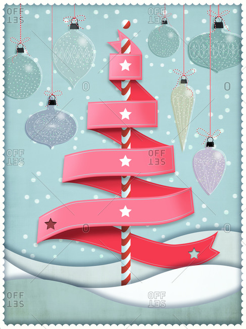 Ribbon Christmas tree in winter landscape