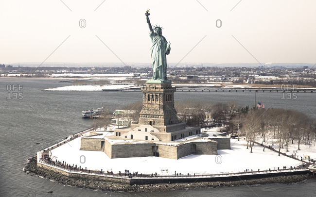 The Statue of Liberty and Liberty Island in winter, New York City, NY