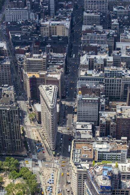 New York City, NY, USA - May 17, 2015: Madison Square Park and Flatiron building, Manhattan, New York City, NY