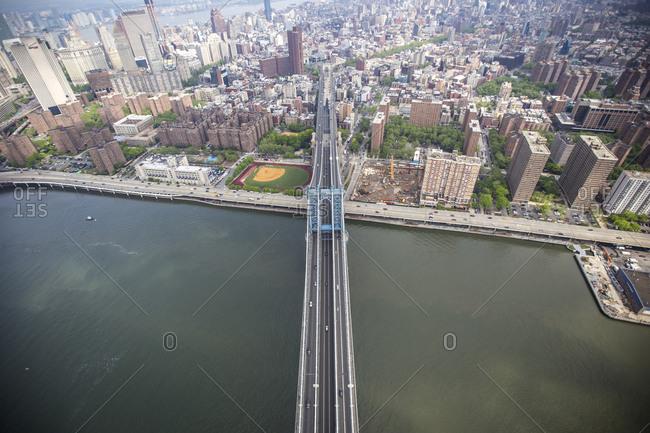 Aerial view of the Manhattan Bridge, Manhattan, New York City, NY
