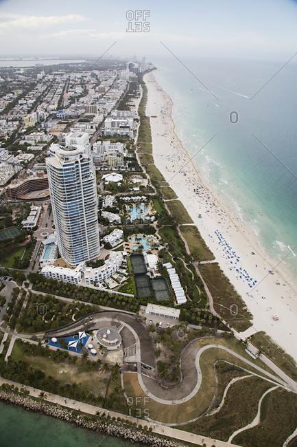 Bird's eye view of the coastline in Miami, FL
