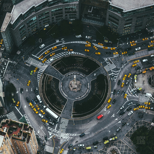 The Columbus Circle roundabout in Manhattan, New York City, NY