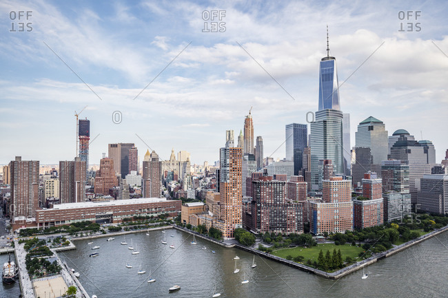 New York City, NY, USA - July 4, 2015: The One World Trade Center and Hudson River Park, Manhattan, New York City, NY